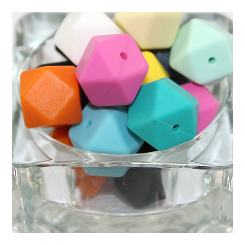 17mm Faceted Square Silicone Bead - Mixed Colours