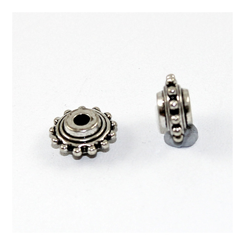 10mm Spiked Wheel Metal Spacer Bead - Antique Silver