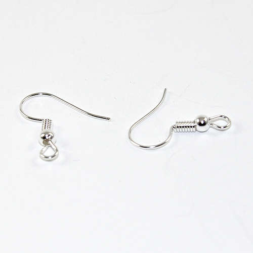 French Hook with Ball - Pair - Silver Plated
