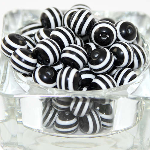 Striped Resin 12mm Bead - Black and White
