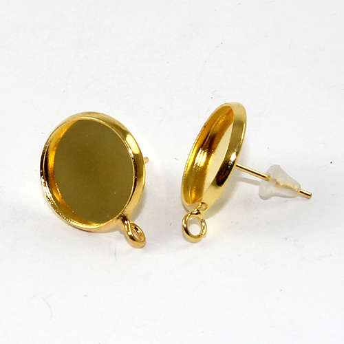 12mm Cabochon Setting Ear Studs with Drop - Pair with Rubber Backs - Gold