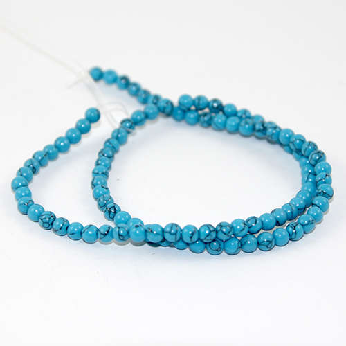4mm Natural Turquoise Round Beads - 38cm Strand - Blue