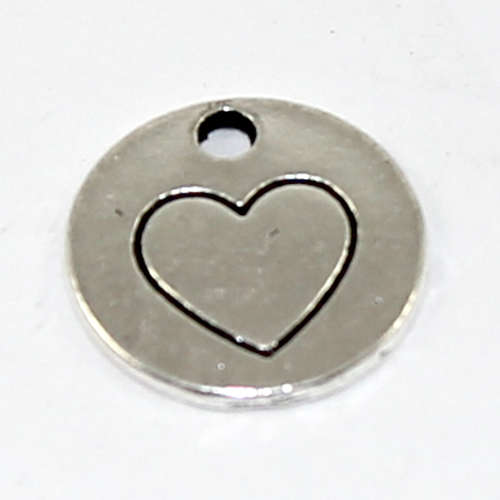 15mm Flat Round Heart Stamped Pendant - Antique Silver