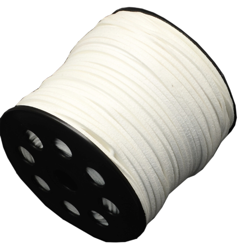 3mm Faux Suede Cord - White
