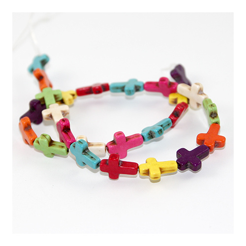 12mm x 16mm Dyed Howlite Cross 25 piece Strand - Mixed Colour
