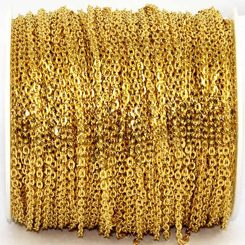 3mm Cross Chain - Gold - sold in 10cm increments