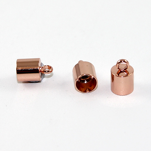 7mm Stainless Steel Cord End - Glue in - Rose Gold