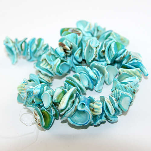 Dyed Nugget Shell Beads - 38cm Strand - Blue