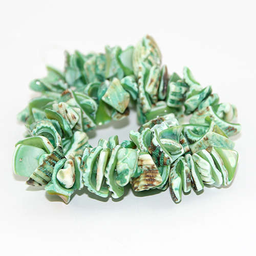 Dyed Nugget Shell Beads - 38cm Strand - Lime Green