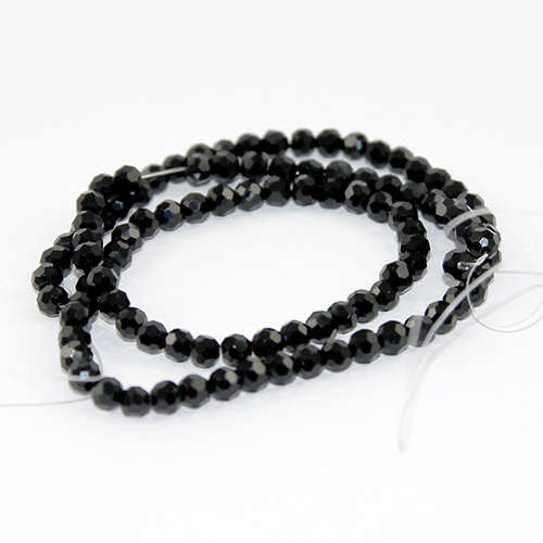 4mm Faceted Round Glass Beads 35cm Strand - Black