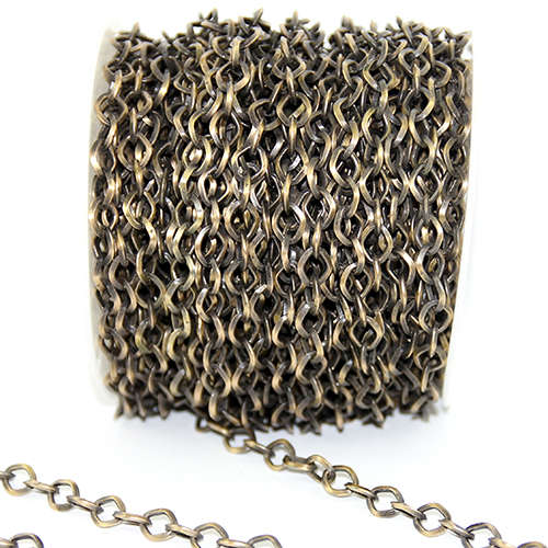 9mm Electroplated Cross Chain - Antique Bronze - Sold in 10cm Increments