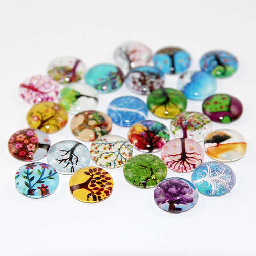 12mm Tree of Life Cabochon - Mixed Pattern - Mixed Colours