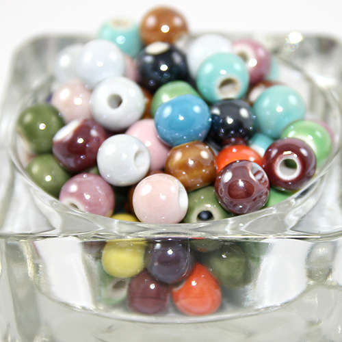 10mm Pearlized Handmade Porcelain Beads - Mixed Colours