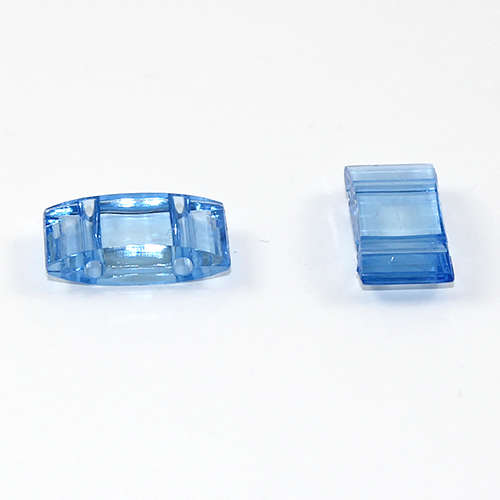 Two Hole Transparent Carrier Bead 17mm x 9mm - Blue