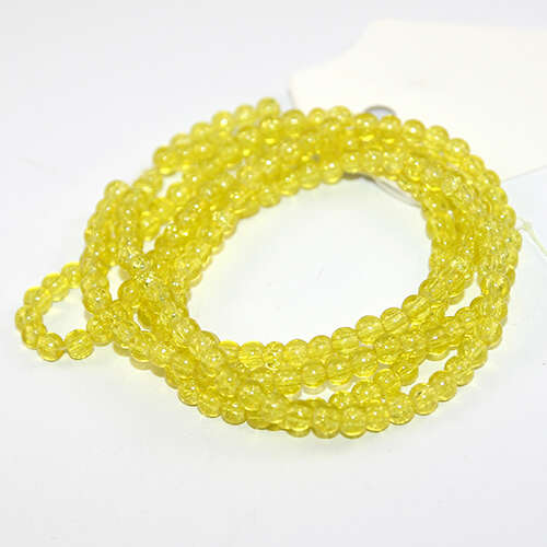 4mm Crackle Glass Beads - 78cm Strand  - Yellow