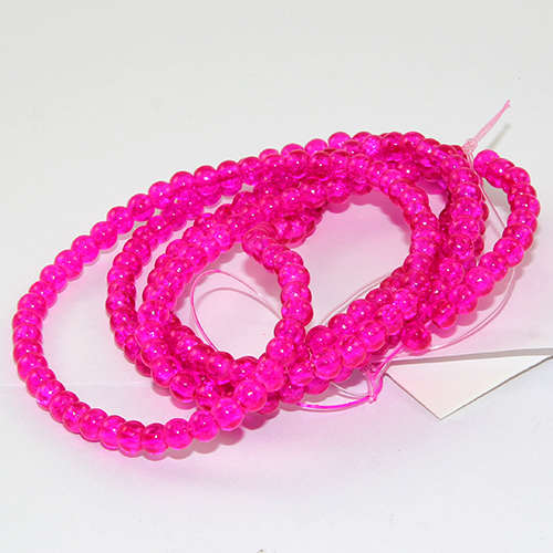 4mm Crackle Glass Beads - 78cm Strand  - Fuchsia