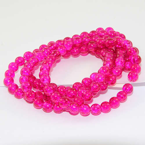 6mm Crackle Glass Beads - 78cm Strand  - Fuchsia