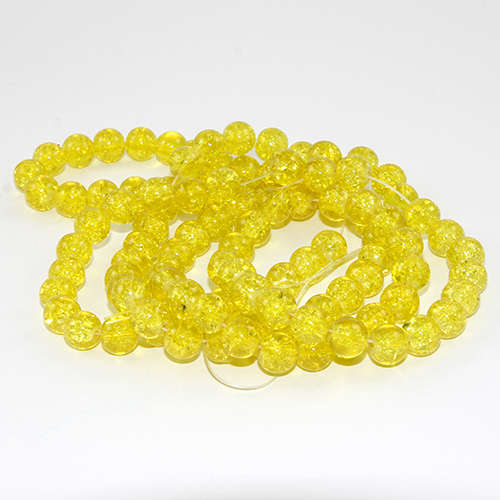 8mm Crackle Glass Beads - 78cm Strand  - Yellow