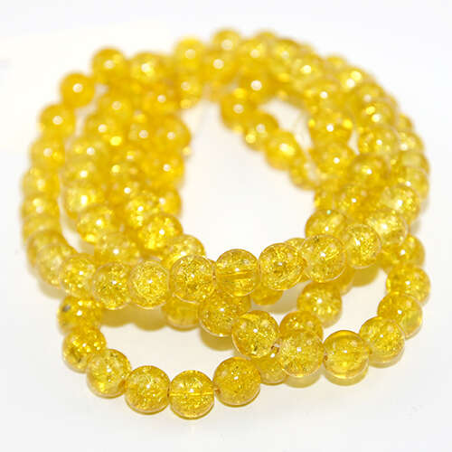 8mm Crackle Glass Beads - 78cm Strand - Sunflower
