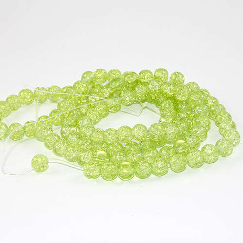 8mm Crackle Glass Beads - 78cm Strand  - Peridot