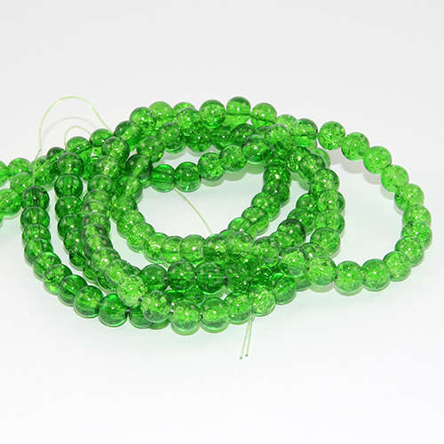 6mm Crackle Glass Beads - 78cm Strand  - Green