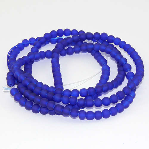 4mm Frosted Glass Beads - 78cm Strand - Blue