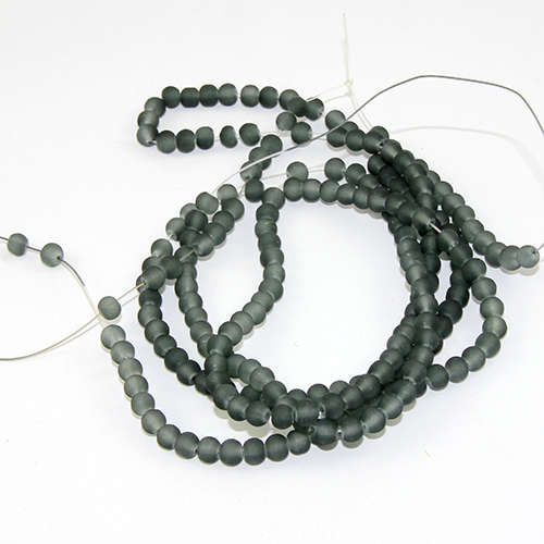 4mm Frosted Glass Beads - 78cm Strand - Grey