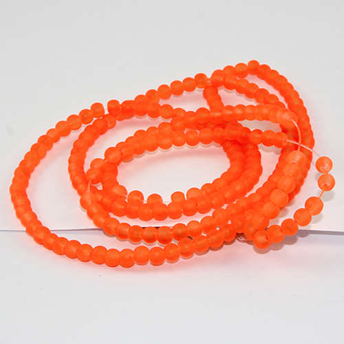 4mm Frosted Glass Beads - 78cm Strand - Orange