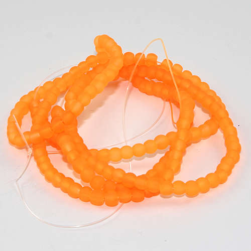 4mm Frosted Glass Beads - 78cm Strand - Neon Orange
