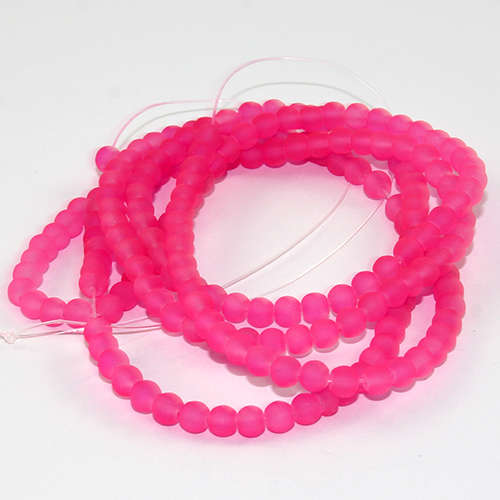 4mm Frosted Glass Beads - 78cm Strand - Dark Neon Pink