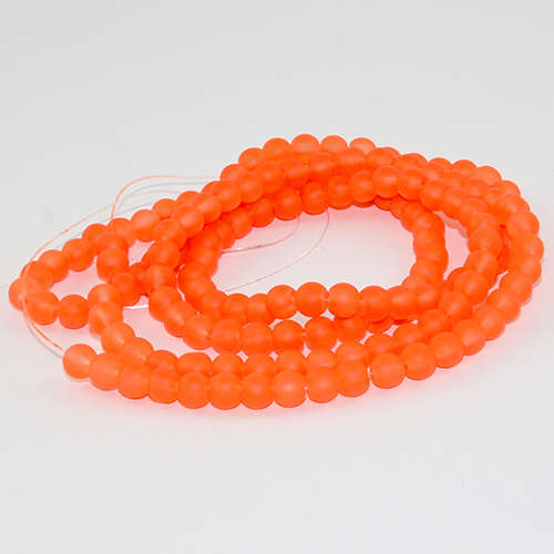 6mm Frosted Glass Beads - 78cm Strand - Orange