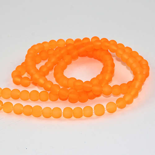 6mm Frosted Glass Beads - 78cm Strand - Neon Orange