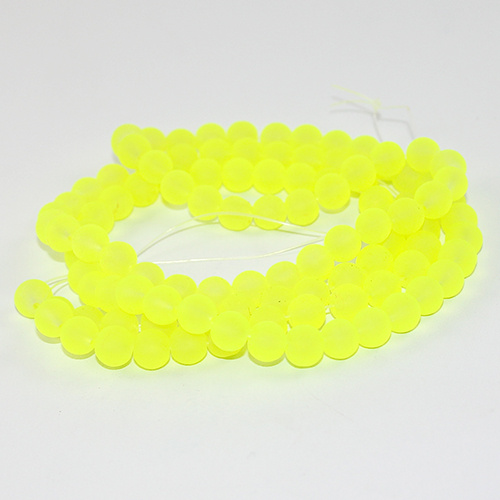 8mm Frosted Glass Beads - 78cm Strand - Neon Yellow