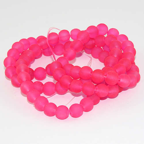 8mm Frosted Glass Beads - 78cm Strand - Dark Neon Pink