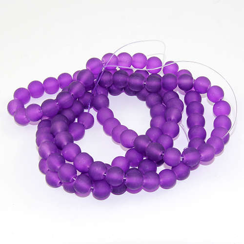 8mm Frosted Glass Beads - 78cm Strand - Purple