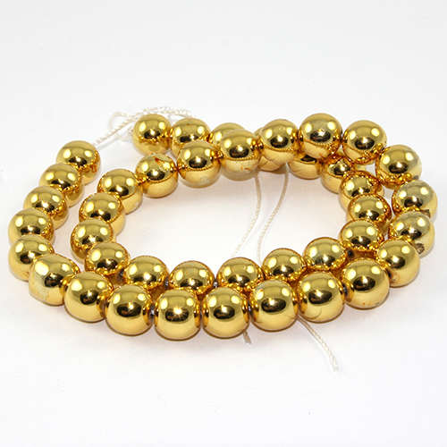 10mm Electroplated Hematite Beads - 38cm Strand - Gold Plated