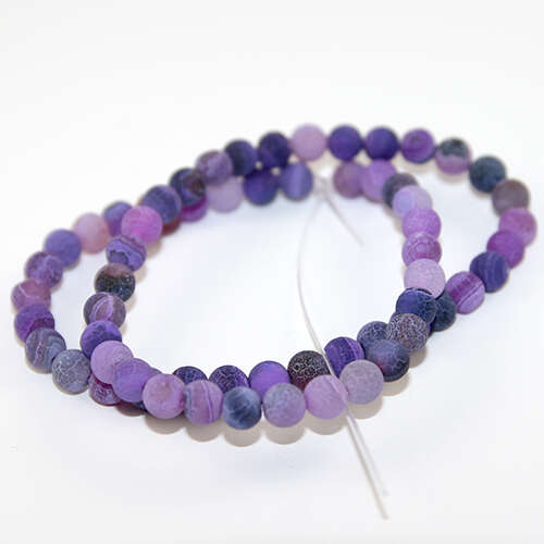 6mm Natural Frosted Agate Beads - 38cm Strands - Purple