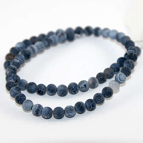 6mm Natural Frosted Agate Beads - 38cm Strands - Black
