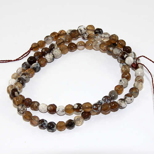 4mm Faceted Natural Agate Round Beads - 38cm Strand - Caramel