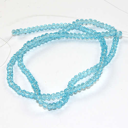2mm x 3mm Glass Rondelle - 38cm Strand - Turquoise Blue
