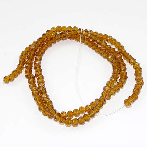 3mm x 4mm Glass Rondelle - 38cm Strand - Sunflower