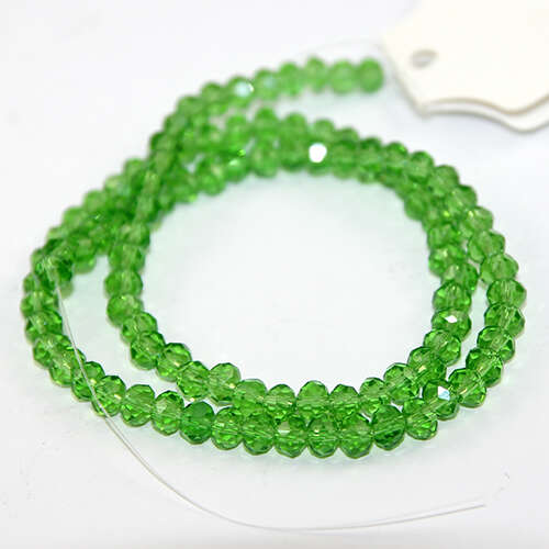 4mm x 6mm Glass Rondelle - 38cm Strand - Green