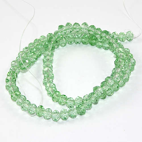 4mm x 6mm Glass Rondelle - 38cm Strand - Pale Green