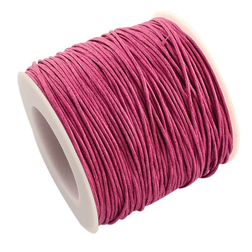 1mm Waxed Cotton Cord - sold per 10cm increments - Fuchsia