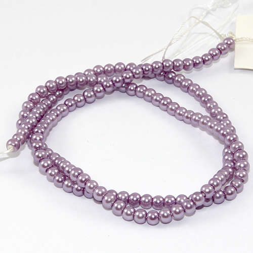 3mm Round Glass Pearls - 38cm Strand - Light Amethyst