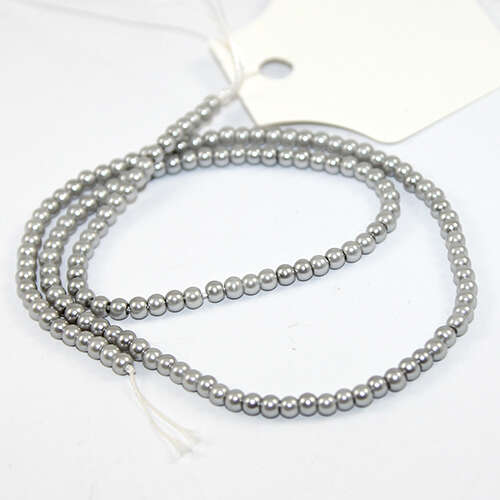 3mm Round Glass Pearls - 38cm Strand - Silver