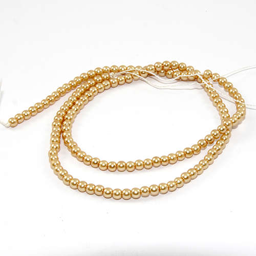3mm Round Glass Pearls - 38cm Strand - Gold