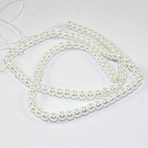 4mm Round Glass Pearls - 38cm Strand - White