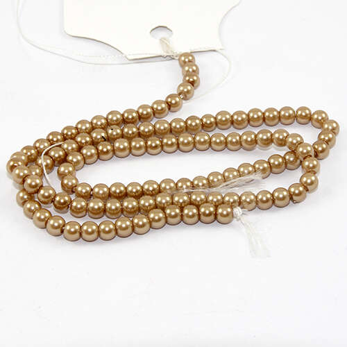 4mm Round Glass Pearls - 38cm Strand - Latte
