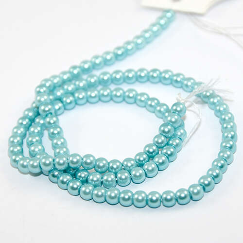 4mm Round Glass Pearls - 38cm Strand - Turquoise Blue